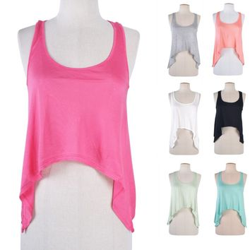 Sharkbite Cropped Sleeveless Racerback Tank Top Asymmetric Hem Solid Scoop Neck