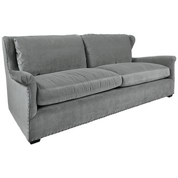 Haven Gray Cloud Velvet 2-Seat Sofa - #21F46 | Lamps Plus
