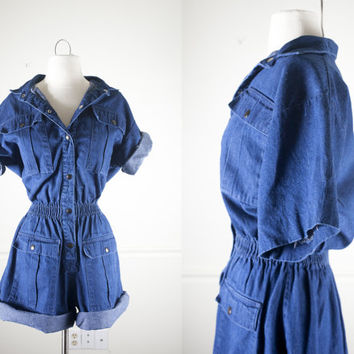 80s Denim Romper | Denim Jumpsuit Playsuit Outfit High Waisted Shorts Safari Romper Slouchy Top Button Down Shirt Denim Shirt 80s Shorts