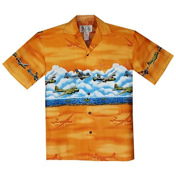 Victory Planes Orange Border Hawaiian Shirt