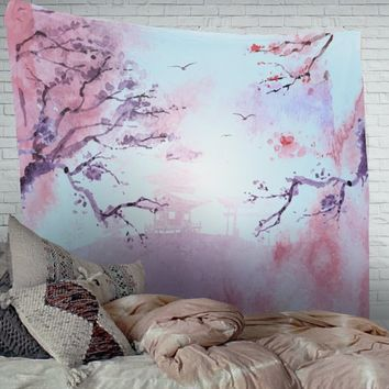Japanese Tapestry Blue and Pink Wall Hanging Large Artwork