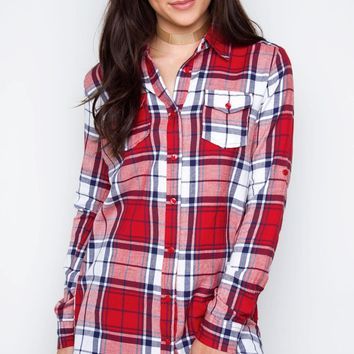 Up My Sleeves Plaid Top
