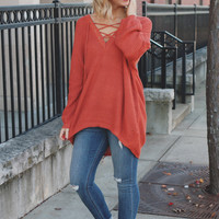 Perfect Lace Up Sweater - Rust