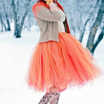 Orange Creamsicle - Reversible Retro Style Tulle Skirt - Half poof Sewn Tutu - your choice of size and length - Orange and Red