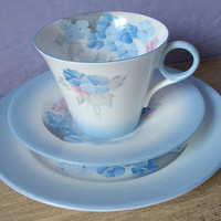 Antique 1920's Shelley china tea cup and saucer plate set trio, vintage blue and white English tea set, hand painted blue phlox tea cup