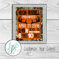 Camo Birth Stats, Camo Nursery Art, Hunting Birth Stats, Outdoor Nursery Decor, Baby Boy Gift, Custom Baby Gift, Camo Hunting Birth Details