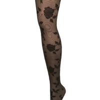 Black Flocked Rose Tights - Socks & Tights - Accessories - Miss Selfridge