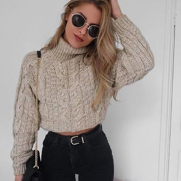 Winter Fashion Women Casual Turtleneck Pure Color Knitted Crop Top Sweater