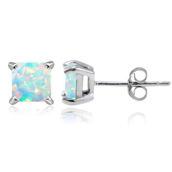 925 Sterling Silver Created Opal 5mm Square Stud Earrings