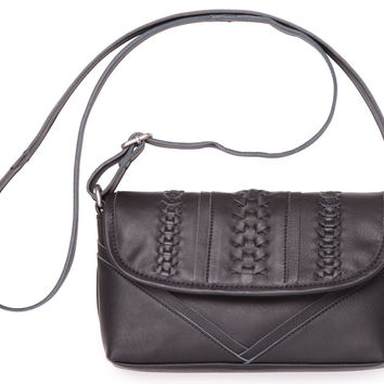 Black Seamed Leather Cadence Crossbody | TOMS