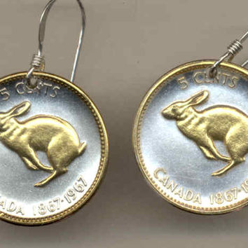 Gorgeous 2-Toned  Gold on Silver Canadian  Rabbit Coin Earrings