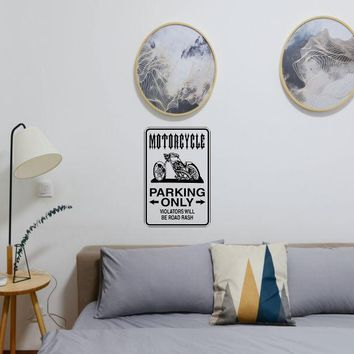 Motorcycle Parking Only Sign Vinyl Wall Decal - Removable (Indoor)