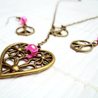 Pink Peace and Love Antique Brass Charm Necklace and Earrings Set Peace Sign Jewelry Hippie Style Lariat Necklace