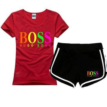 HUGO BOSS Women Men Fashion Print Cotton Sport Shirt Shorts Set Two-Piece Sportswear