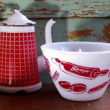 Vintage Fire King Mixing Bowl, Spag's Kitchen Aids Milk Glass Bowl, Red and White, Retro Dish, Cottage, Farmhouse Kitchen, Fireking