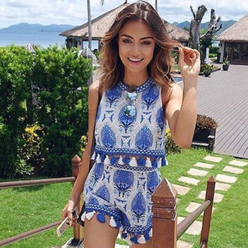 Fashion Retro Embroidery Tassel Edge Sleeveless Tops High Waist Shorts Set Two-Piece