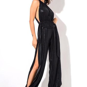 Black Cut Out Boho Open Back Beach Jumpsuit