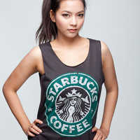 STARBUCKS Shirt STARBUCKS Coffee Shirt Espresso Drink Women Tank Top Black Shirts Tunic Top Vest Singlet Women T-Shirt Size S M