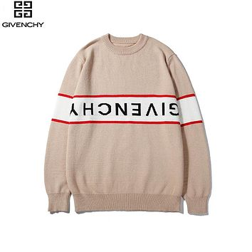 Givenchy 2019 new jacquard letters upside down logo round neck long sleeve sweater apricot