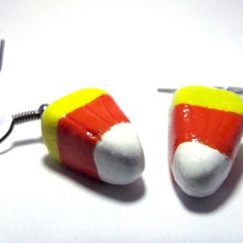 Halloween Candy Corn Polymer Poly Clay Halloween Earrings. Handmade Custom Halloween Jewelry. Dangle Drop Hook Earrings.