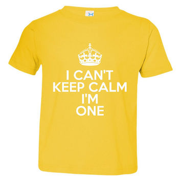 I Can't Keep Calm I'm One Great 1st BIRTHDAY Shirt Makes Great Gift Awesome for 1st Birthday Babys First B Day