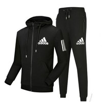 Adidas Women Men Fashion Casual Hooded Cardigan Jacket Coat Pants Trousers Set Two-Piece-8