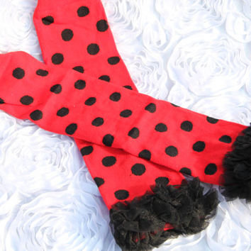 READY TO SHIP Red Ladybug Minnie Mouse Inspired Leg Warmers with Black Dots and Chiffon Ruffle Baby Girl  Birthday Shower Gift Photo Prop