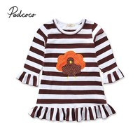 Pudcoco 2018 Kids Toddler Baby Girls Dress Thanksgiving Turkey Striped Ruffle Dress Casual Loose Summer Clothes Outfit 1-6Y
