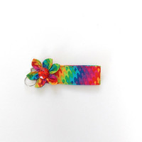 Key Chain, wristlet, Key Fob in bright rainbow color print with  matching Kanzashi Flower with red  rhinestone center