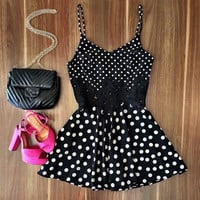Women Strap Lace Dot Sundress Slim Dress