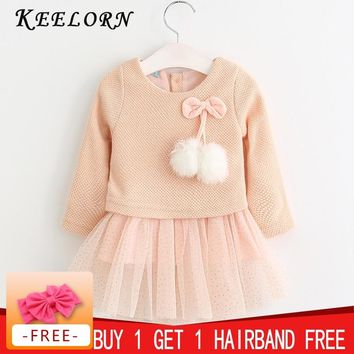 Keelorn Baby Girl Dress New Casual Baby Clothes Long Sleeve Plaid Bear Straps Fake Two Piece Dress baby girl clothes