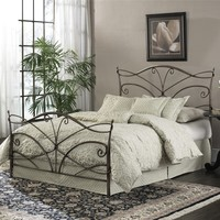 Queen Size Metal Bed With Headboard & Footboard In Brushed Bronze Finish