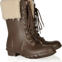 Hunter|Adley shearling-trimmed Wellington boots|NET-A-PORTER.COM