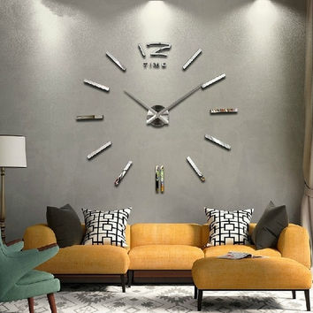 Luxury Large DIY 3D Wall Clock Home Decor Bell Cool Mirrors Stickers Art Watch = 1651450948