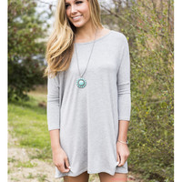 SZ LARGE Heaven's Bliss Heather Gray Quarter Sleeve Solid Dress