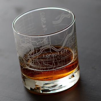 Kansas City Map Rocks Glass