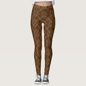 Brown abstract pattern leggings