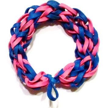 Cotton Candy Blue and Pink Rubber Band Bracelet - Stretch Bracelet