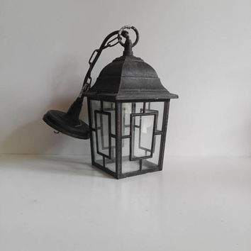 French, Vintage Lantern, country home decor, country house, antique lamp, rustic decor, hanging light, cast iron, home decor, farmhouse,