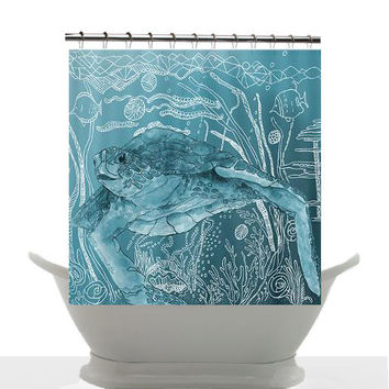 Artistic Shower Curtain Shelley Of The Deep Blue Sea Watercolor Art Sea Turtle