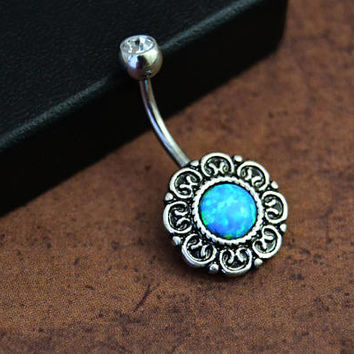 Belly Ring 3 Sizes, Blue Lab Created Fire Opal, Short Bar Navel Ring Silver Belly Button Ring 14G Surgical Steel, Short Bar Navel 315-06