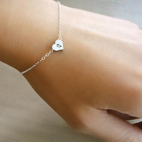 Custom Initial Silver Heart Bracelet Hand stamped by Beazuness