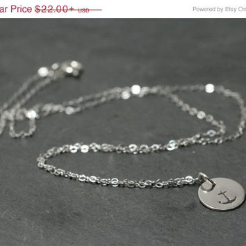 SALE 20%off Sterling Silver Anchor Nautical Charm Pendant Necklace Personalized