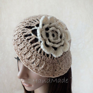 Fower Lace Crochet Women Ladies girls Vintage Style Cloche Rasta Snood Tam Fall Spring Beret Hat Beige Fashion