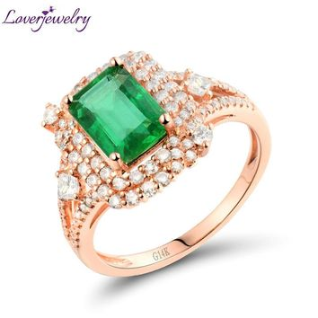 Amazing 14kt Rose Gold Natural Diamond Genuine Emerald Engagement Ring Real Diamond Wedding Jewelry for Women WU288
