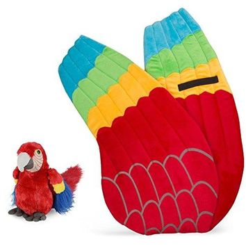 Wildlife Tree Plush Macaw Parrot Wings with Baby Plush Toy Parrot Bundle for Pretend Play Animals Dressup