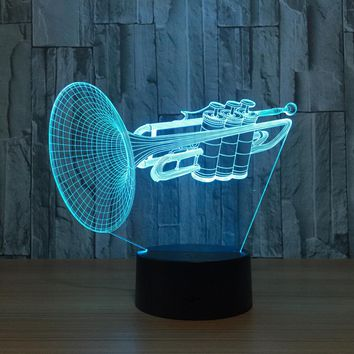 Trumpet Instrument 3D LED Lamp