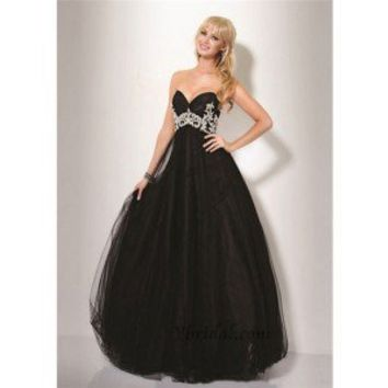 A-Line Sweetheart Floor-Length Tulle and Taffeta Prom Dress SAL0931