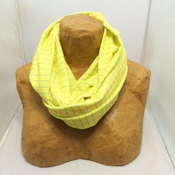 Colorful Knit Scarf - Yellow Legal Paper - Back to School, Chunky Knit Circle Scarf, Loop Scarf, Eternity Scarf, School Supplies