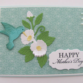 Mothers Day Card Unique, For Her, Mom, Mother, Hummingbird Cards, Morning Glory Flowers, Mother's Day Flower Cards,Teal, Happy Mother's Day